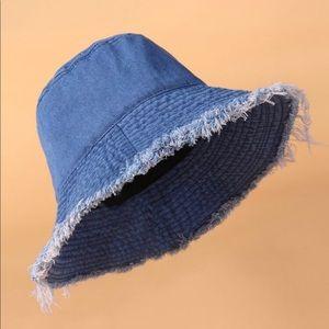 Raw Hem Denim Bucket Hat